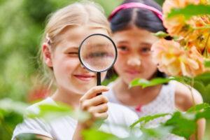 Bild på barn som studerar blomma